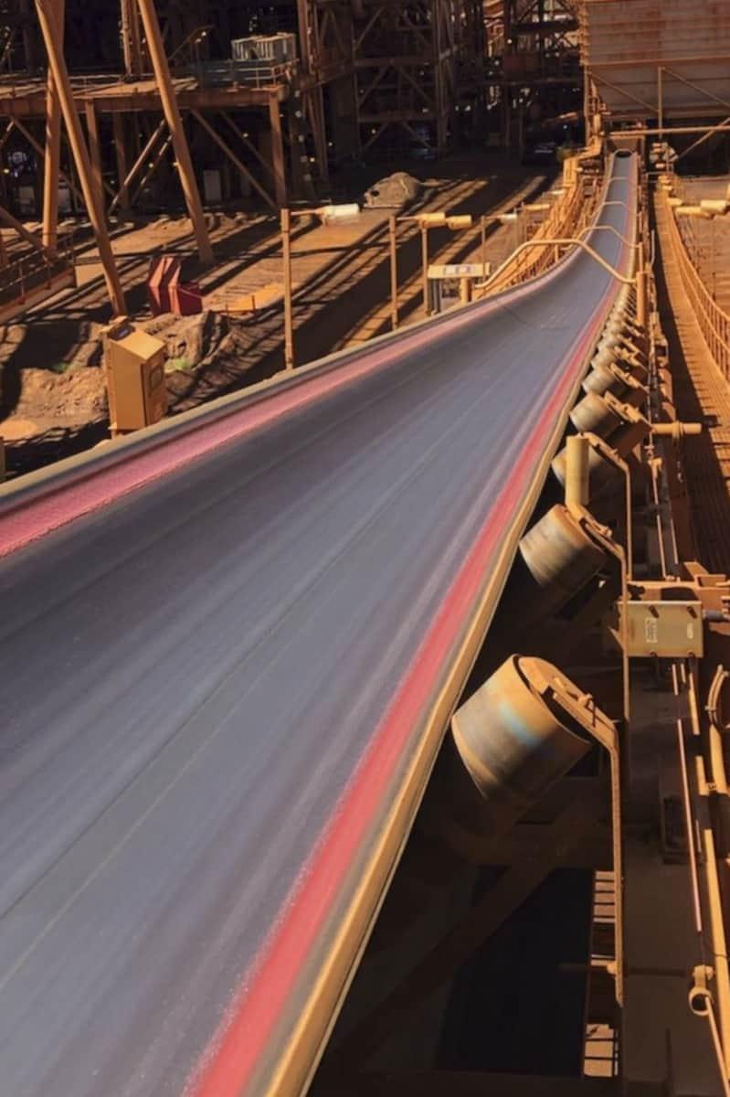Polyurea used to repair a rubber conveyor belt